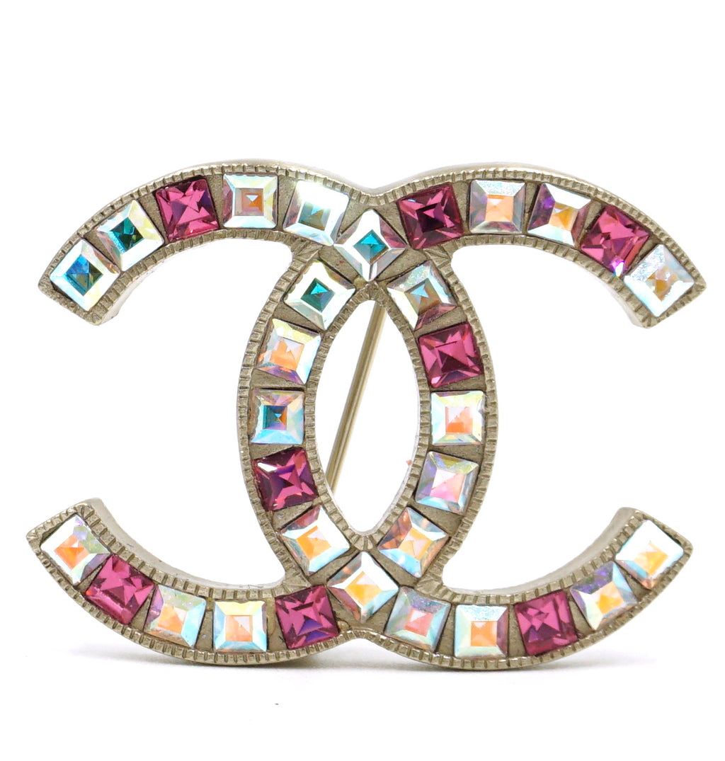 Chanel Gold Multicolor Baguette CC Clear Crystals Brooch