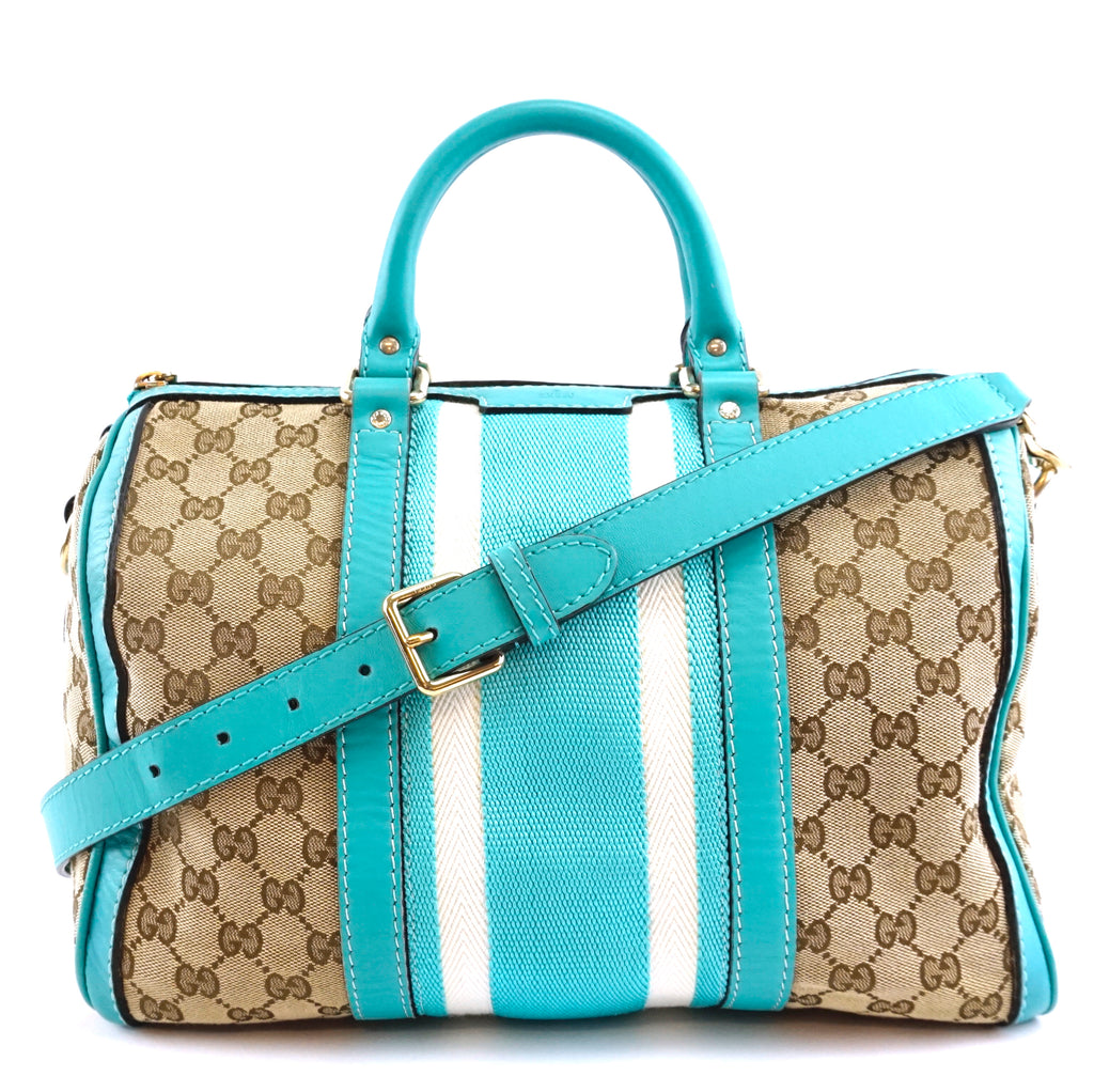 Gucci Joy Boston GG Beige and Turquoise Canvas