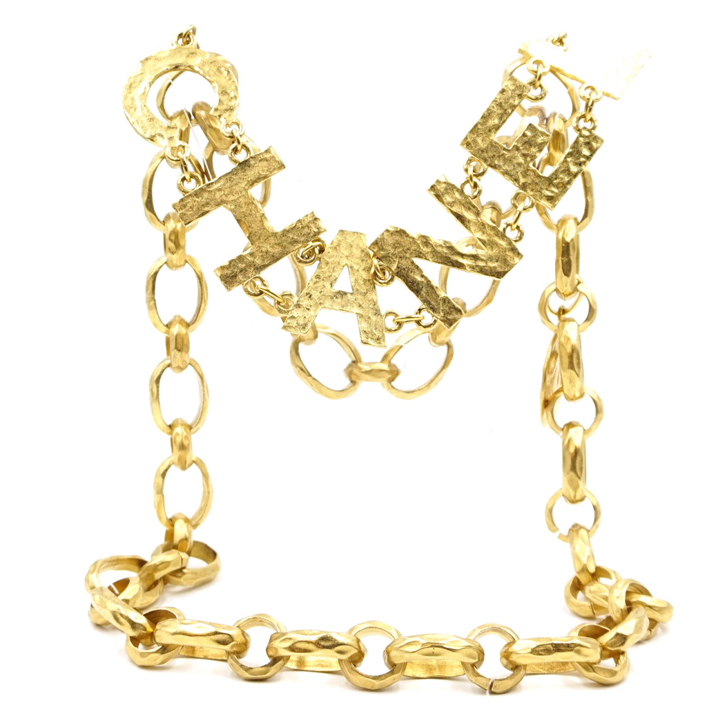 Chanel Gold CC Spelled Out Long Belt Necklace