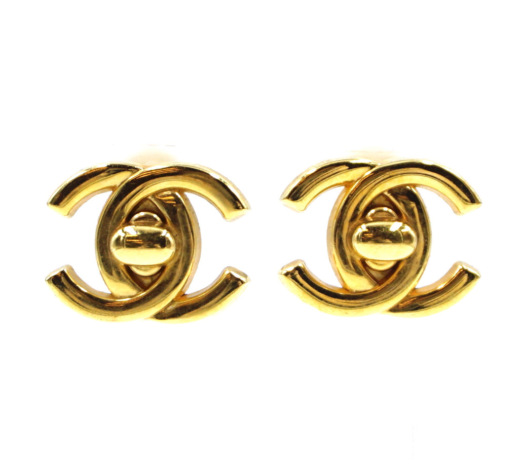 Chanel Gold CC Interlock Clip On Earrings