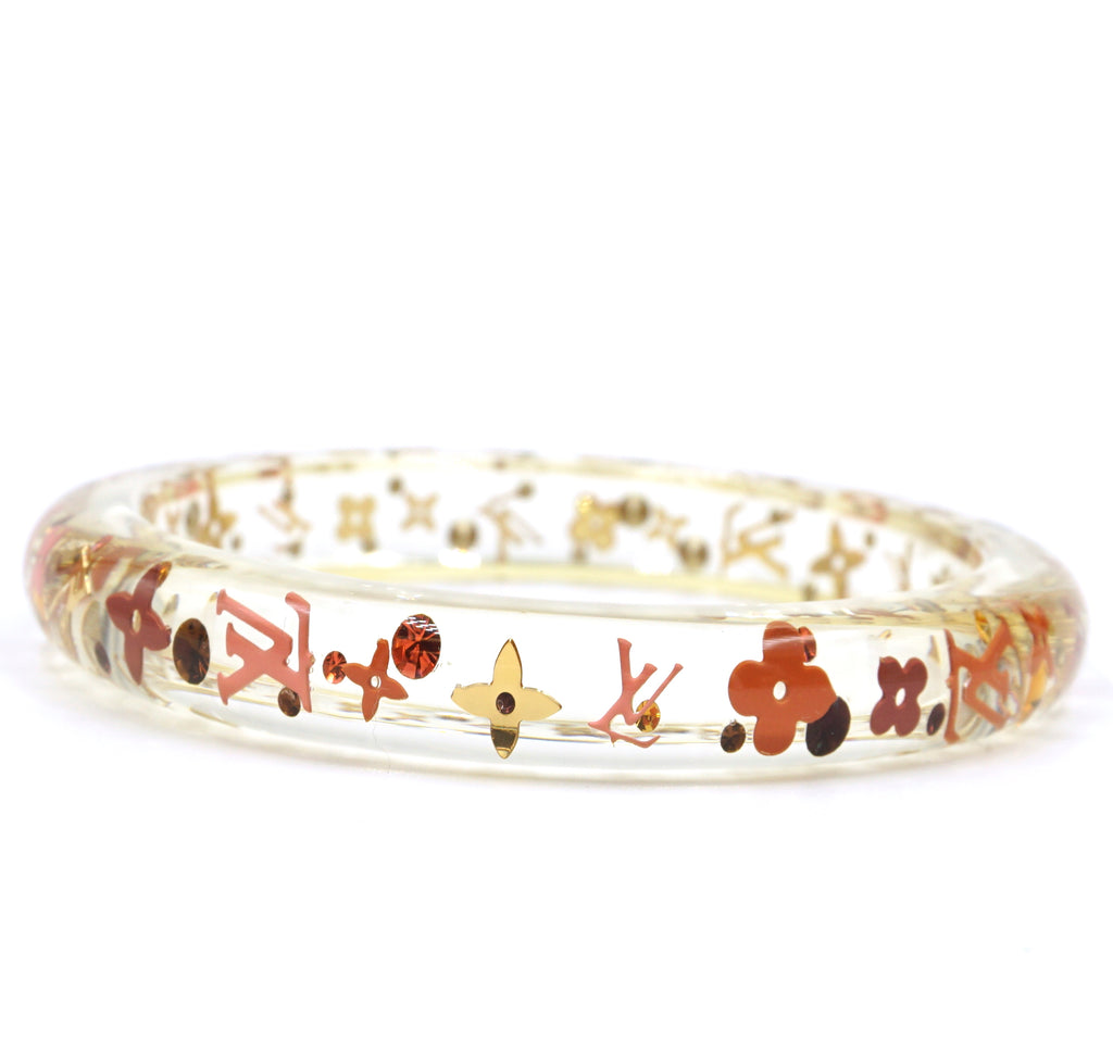 Louis Vuitton Clear Monogram Inclusion Flowers Logo Bangle