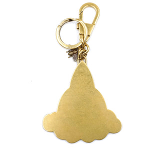 Gucci Gold Beige Rocket Key Charm GG Supreme Canvas