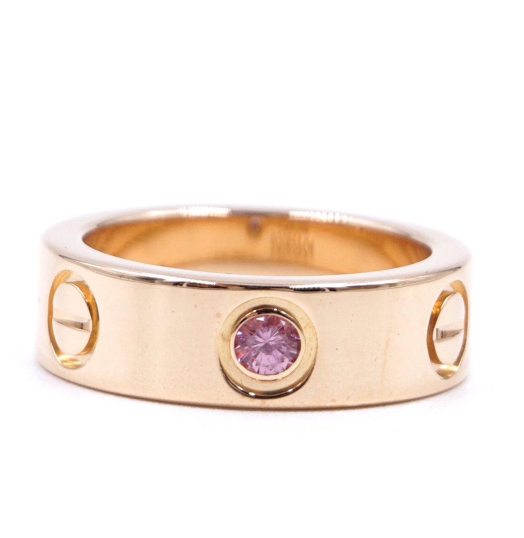 Cartier 18k Sapphire 1p Rose Pink Gold Ring Size 47