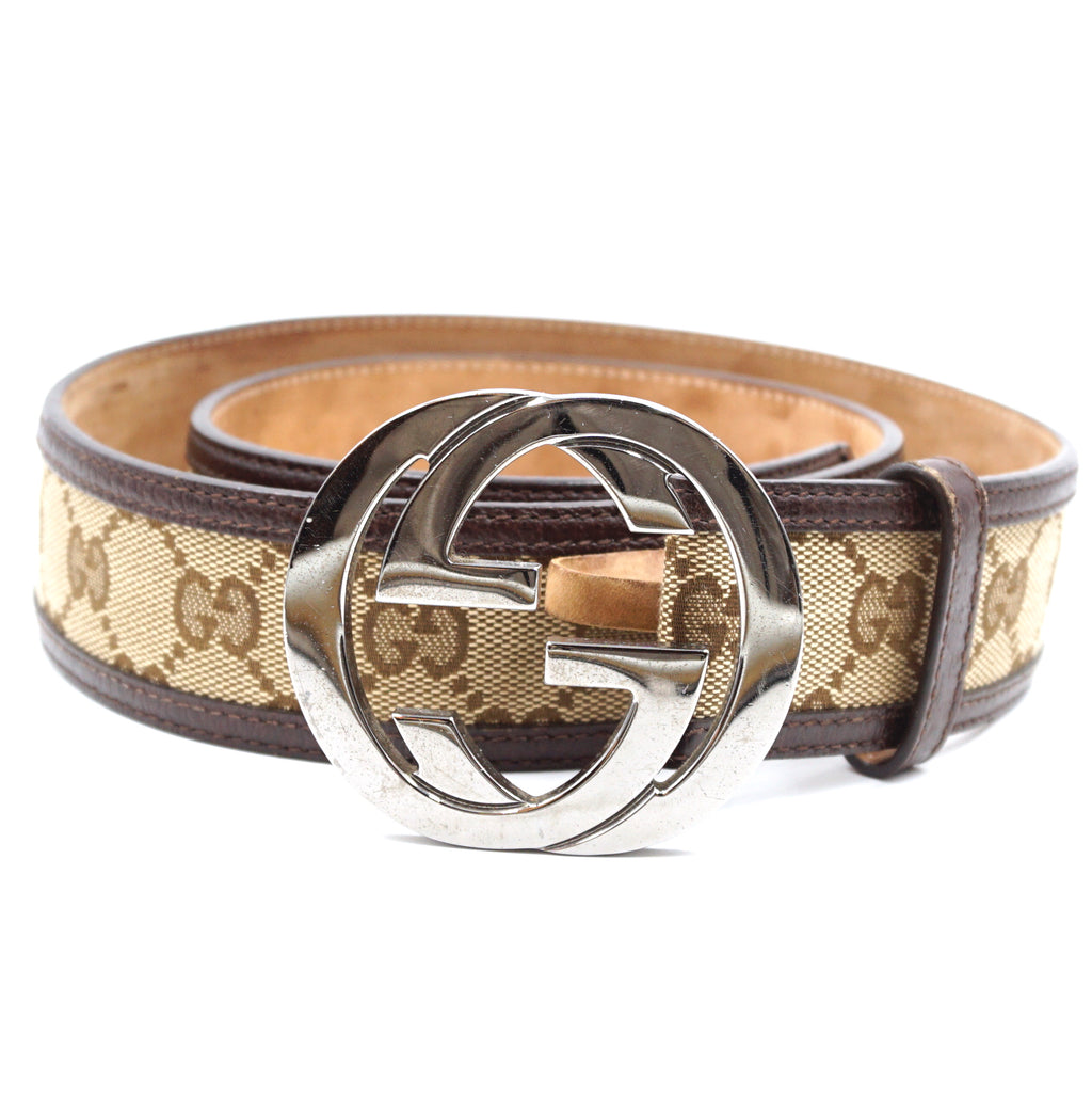 Gucci Beige Brown GG Silver Buckle Leather Size 85/34 Belt