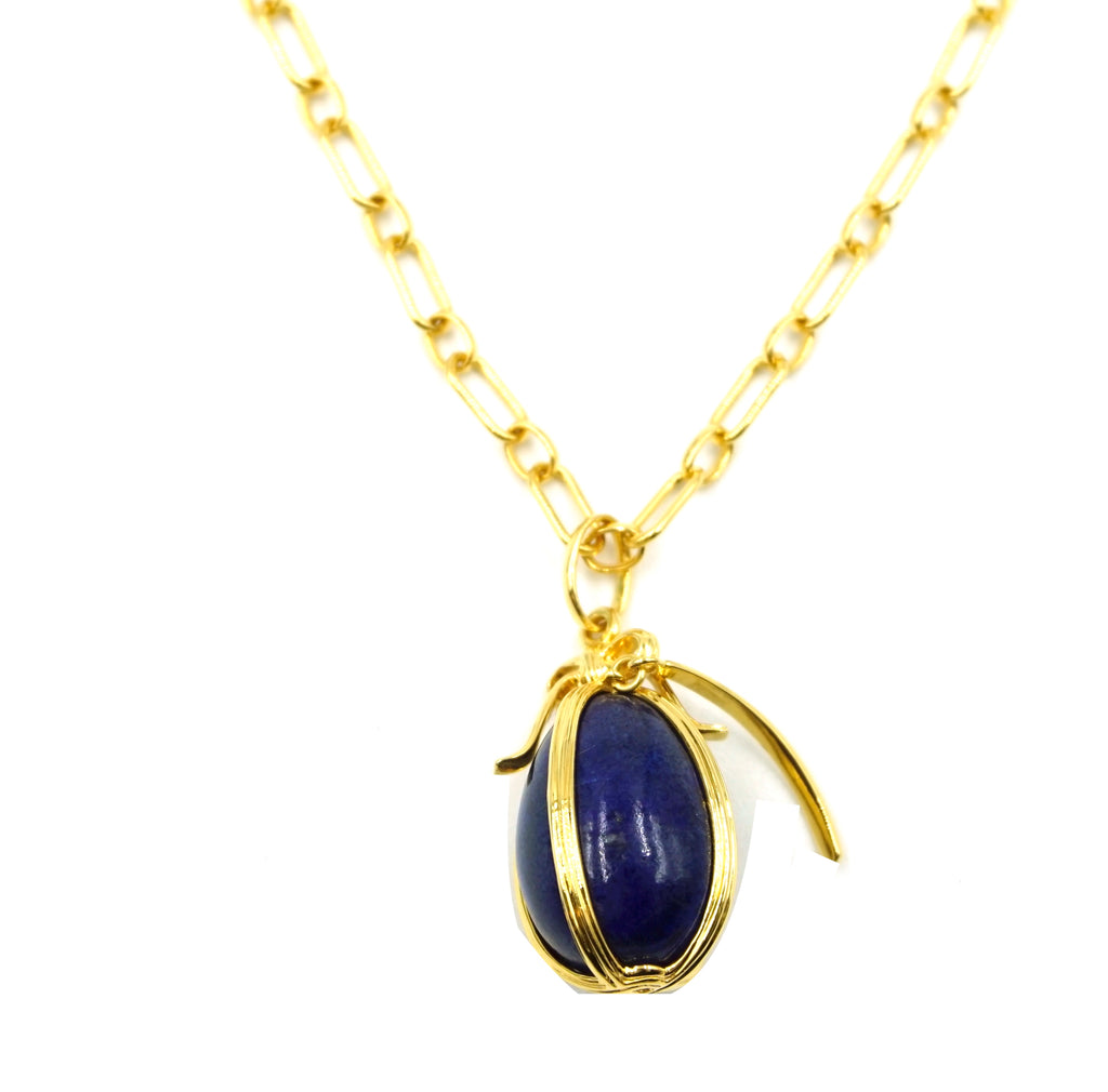 Tiffany & Co. Yellow Gold 18k Blue Egg Enamel Necklace
