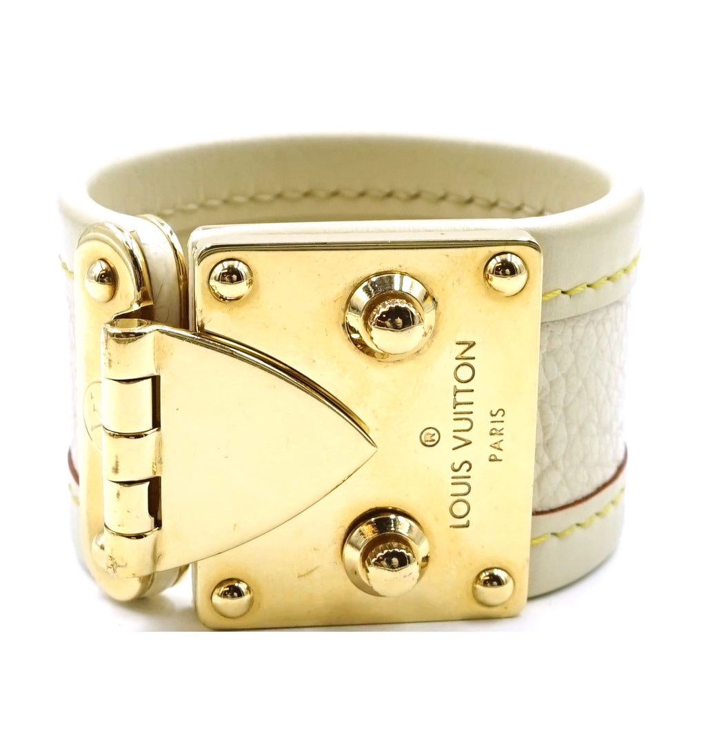 Louis Vuitton White Malle Suhali Lock Leather Cuff