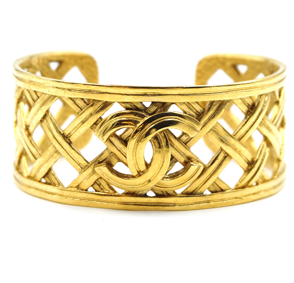 Chanel Gold CC Woven Cutout Cuff Bangle