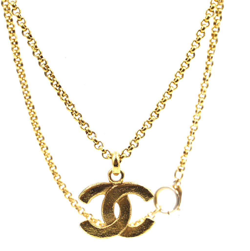 Chanel Gold CC Hammered Matte Necklace