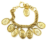 Chanel Gold CC Crown 8 Motif Charms Chain Bracelet