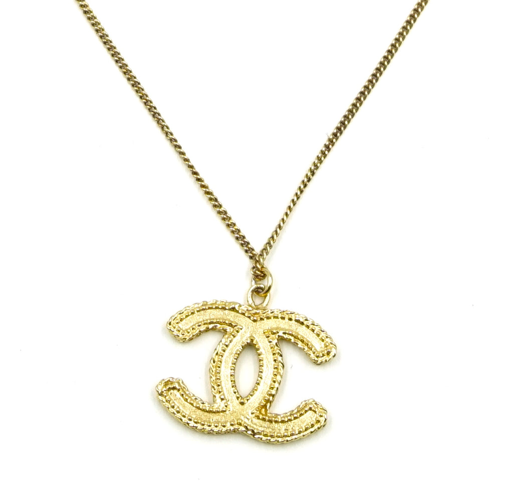 Chanel CC Textured Chain Choker Large Gold Necklace