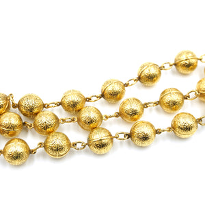 Chanel Gold CC Textured Ball Beads Charms Multi Chain Bracelet