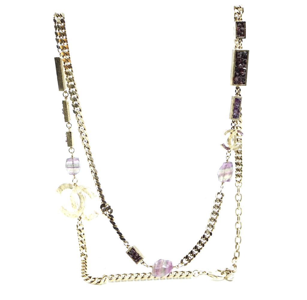 Chanel Gold CC Purple Quartz Stones Long Necklace