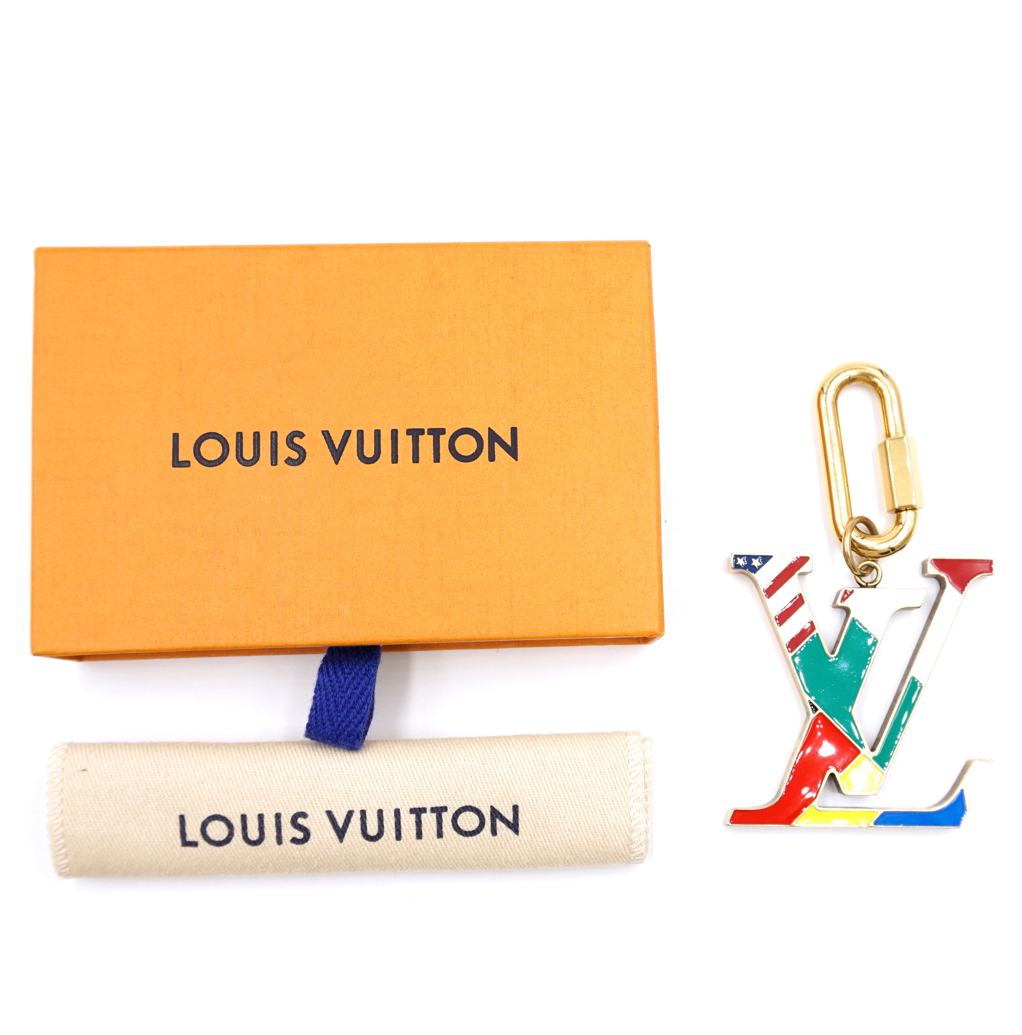 Louis Vuitton Gold Multicolor Bijou Flag Key Holder Charm