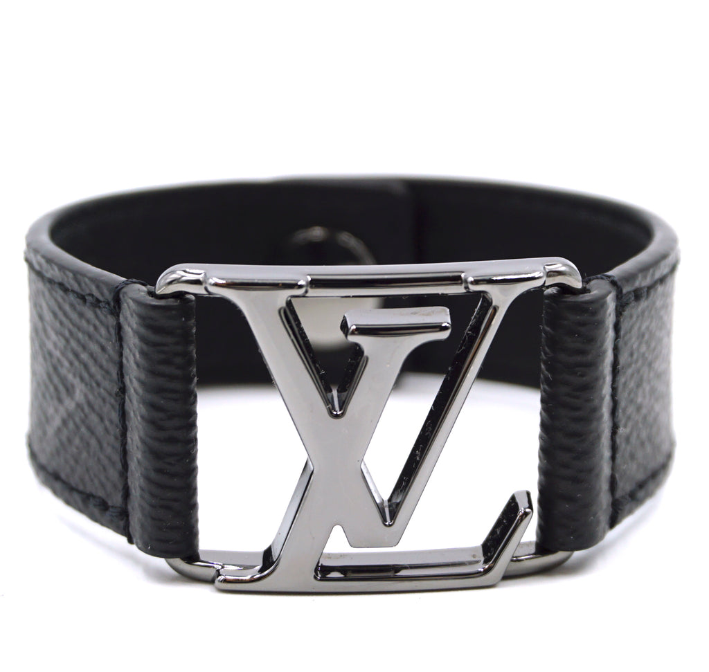 Louis Vuitton Eclipse Black Monogram LV Logo Bracelet Size 19