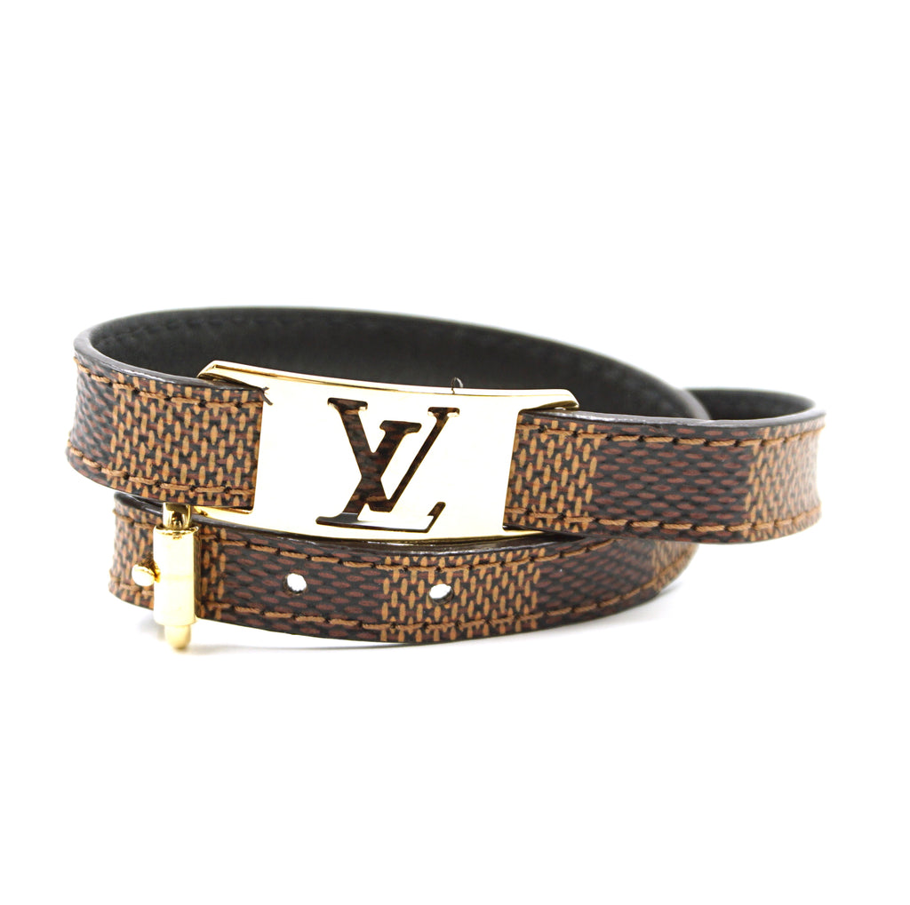 Louis Vuitton LV Gold Logo Double Tour Damier Ebene Bracelet