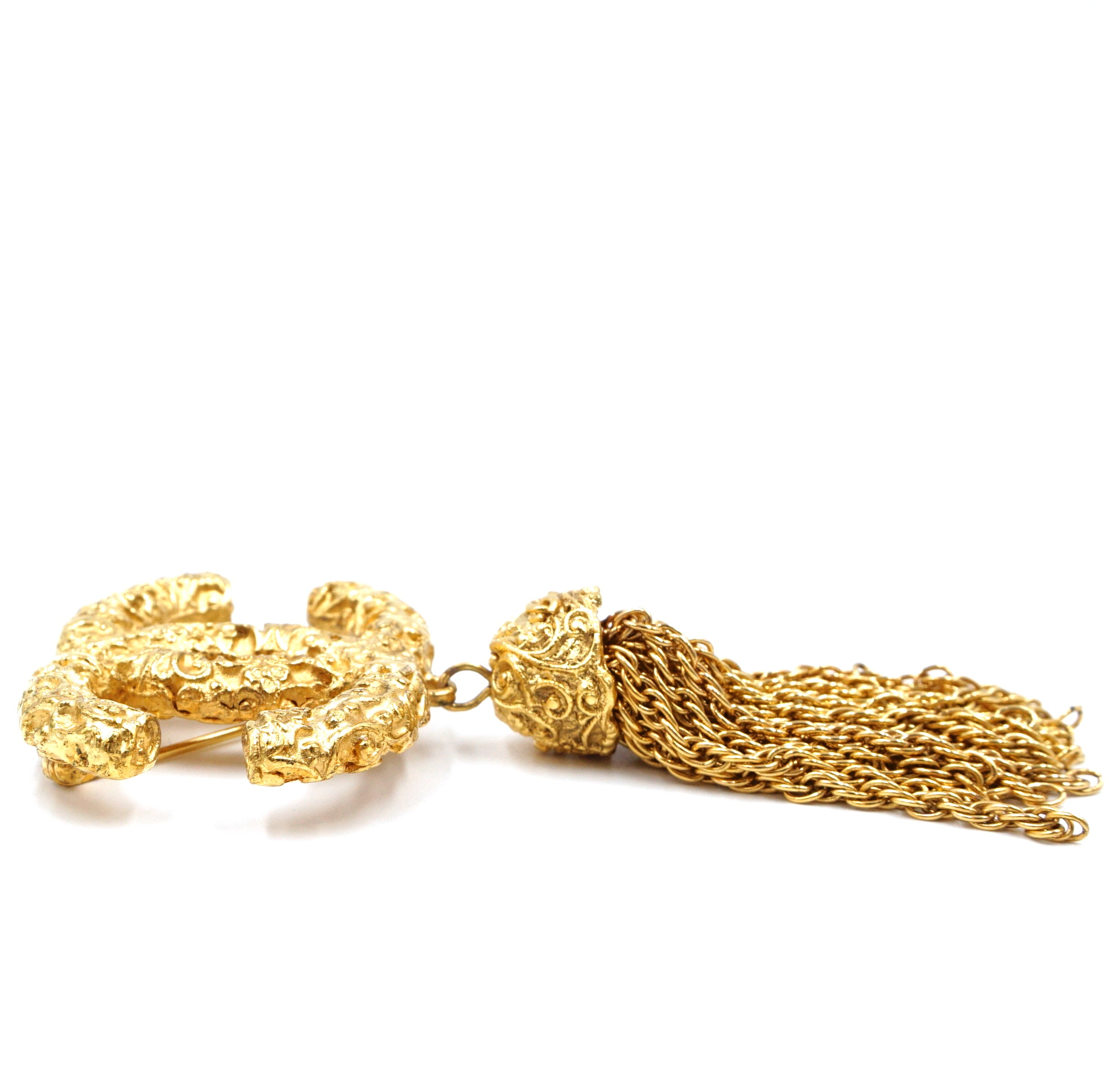Chanel Gold CC Textured with Tassel Hardware Brooch