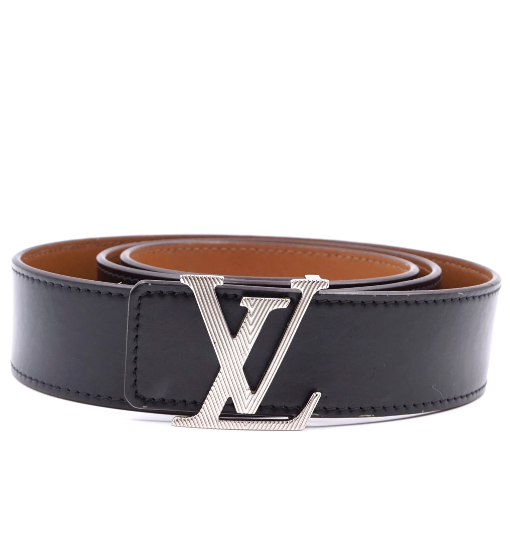 Louis Vuitton LV Logo Textured Initials Reversible Leather Belt Size 95/38