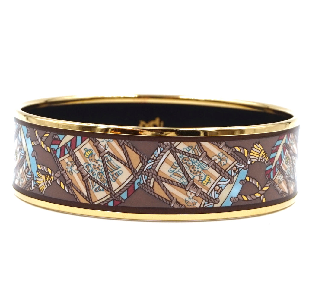 Hermès Logo Icon Plated Wide Gold Brown Bangle