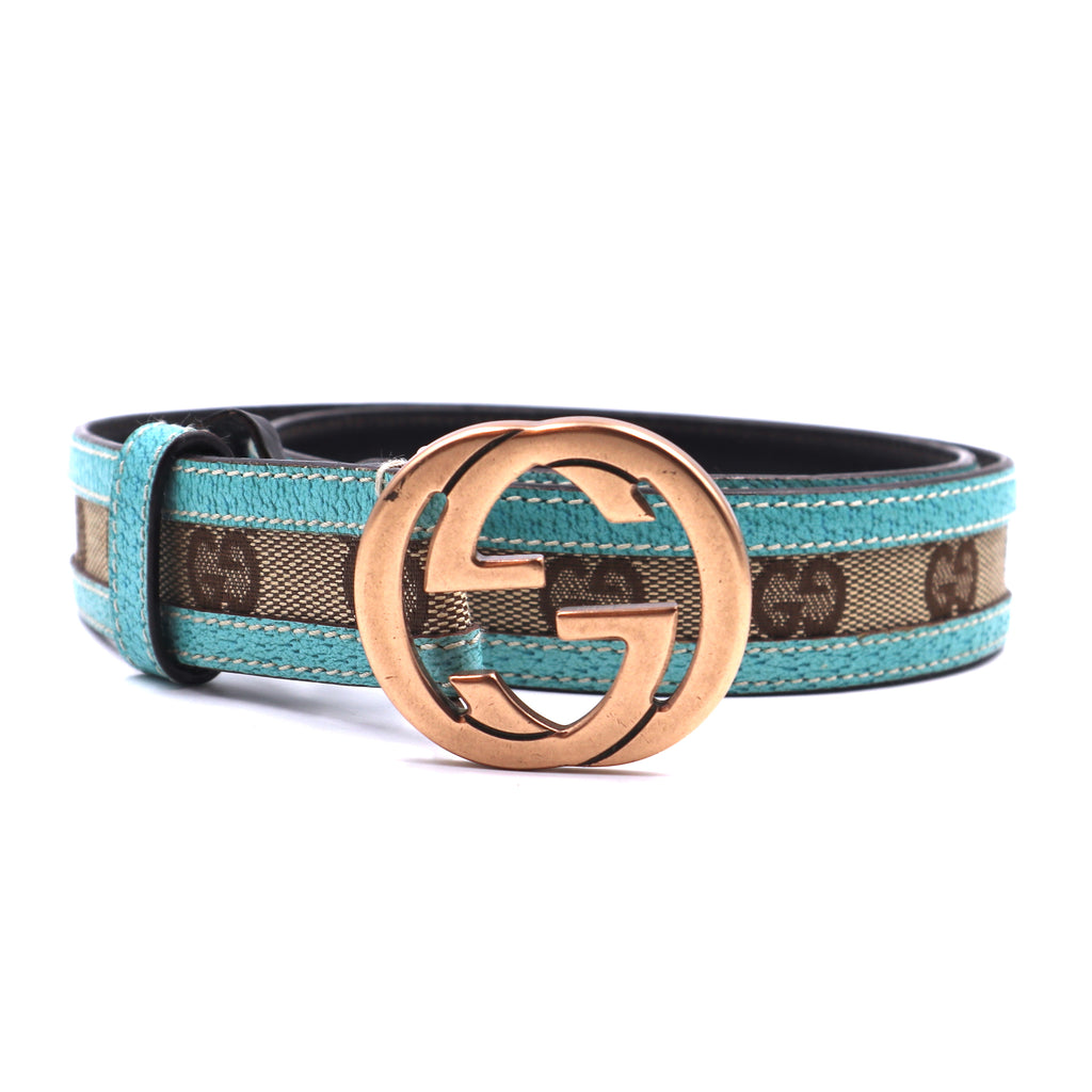 Gucci Beige Blue GG Gold Buckle Leather Belt Size 80/32