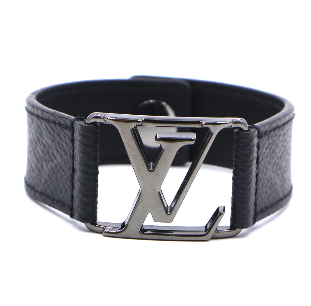 Louis Vuitton Monogram Eclipse Lv Logo Ruthenium Bracelet