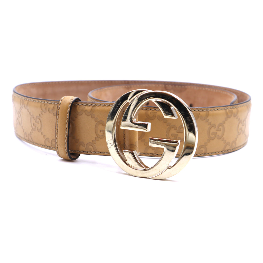 Gucci Sand Guccissima GG Gold Buckle Leather Belt Size 85/34