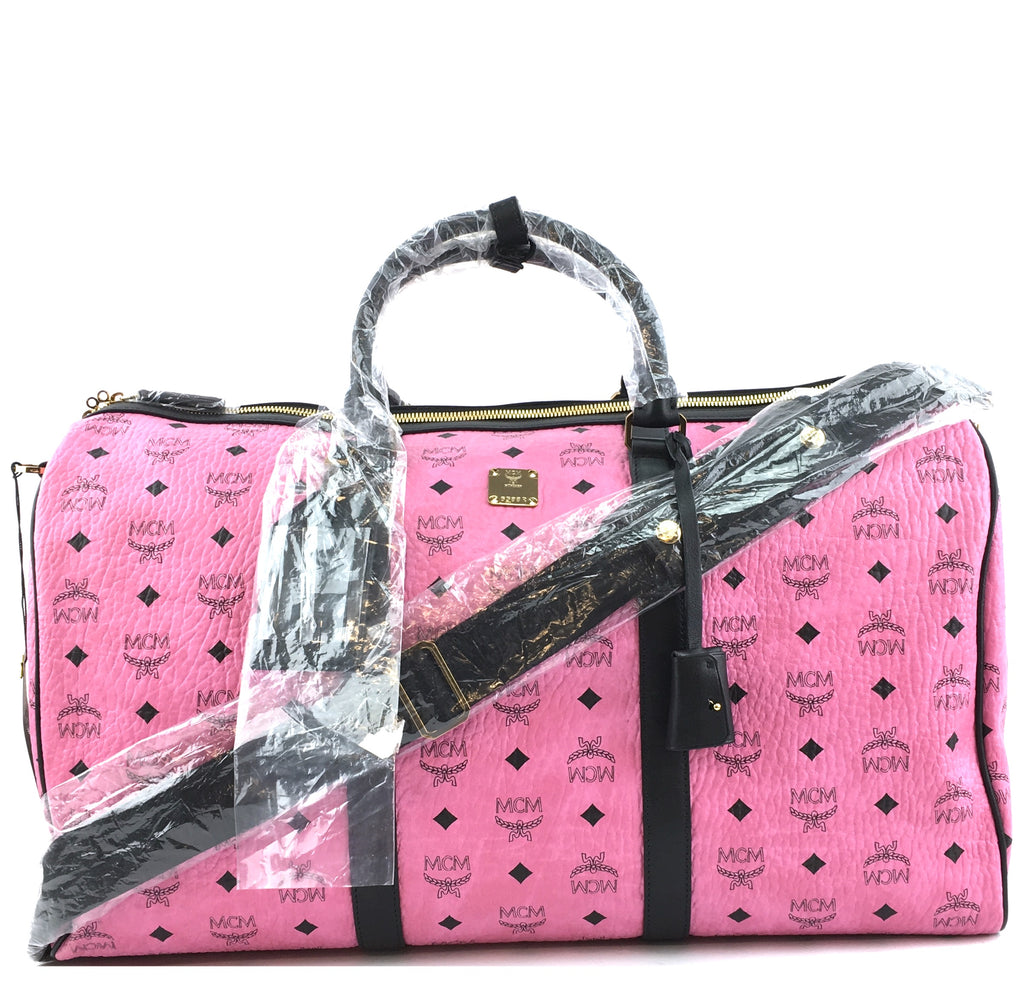 MCM Duffle Logo Pink Canvas