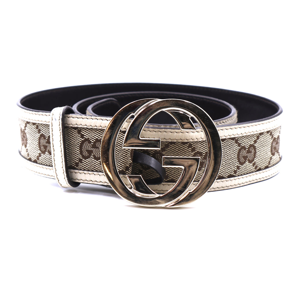 Gucci Beige White Cream GG Gold Buckle Leather Belt Size 85/34
