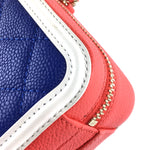 Chanel CC Filigree Vanity Case Small Blue Red Caviar Leather