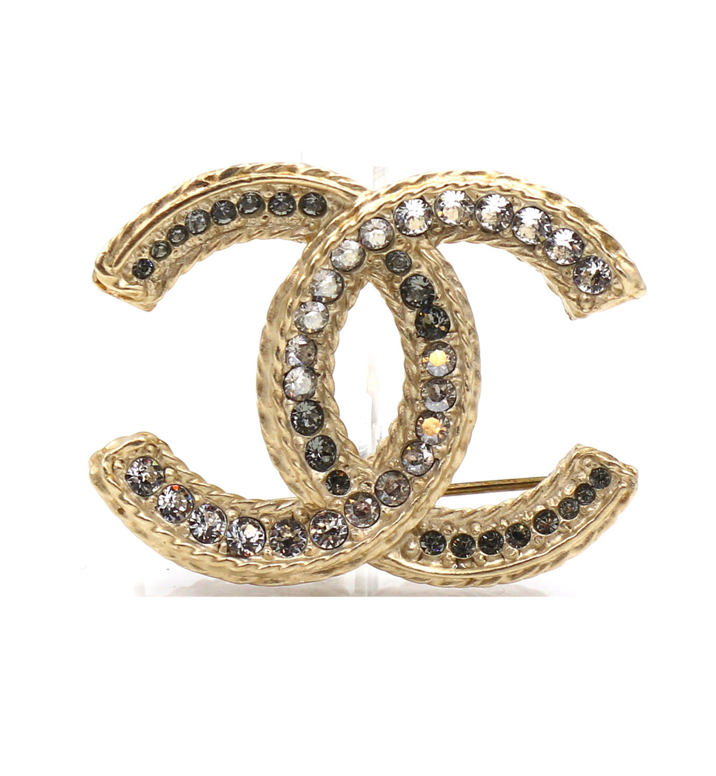 Chanel Gold Timeless CC Crystals Hardware Brooch