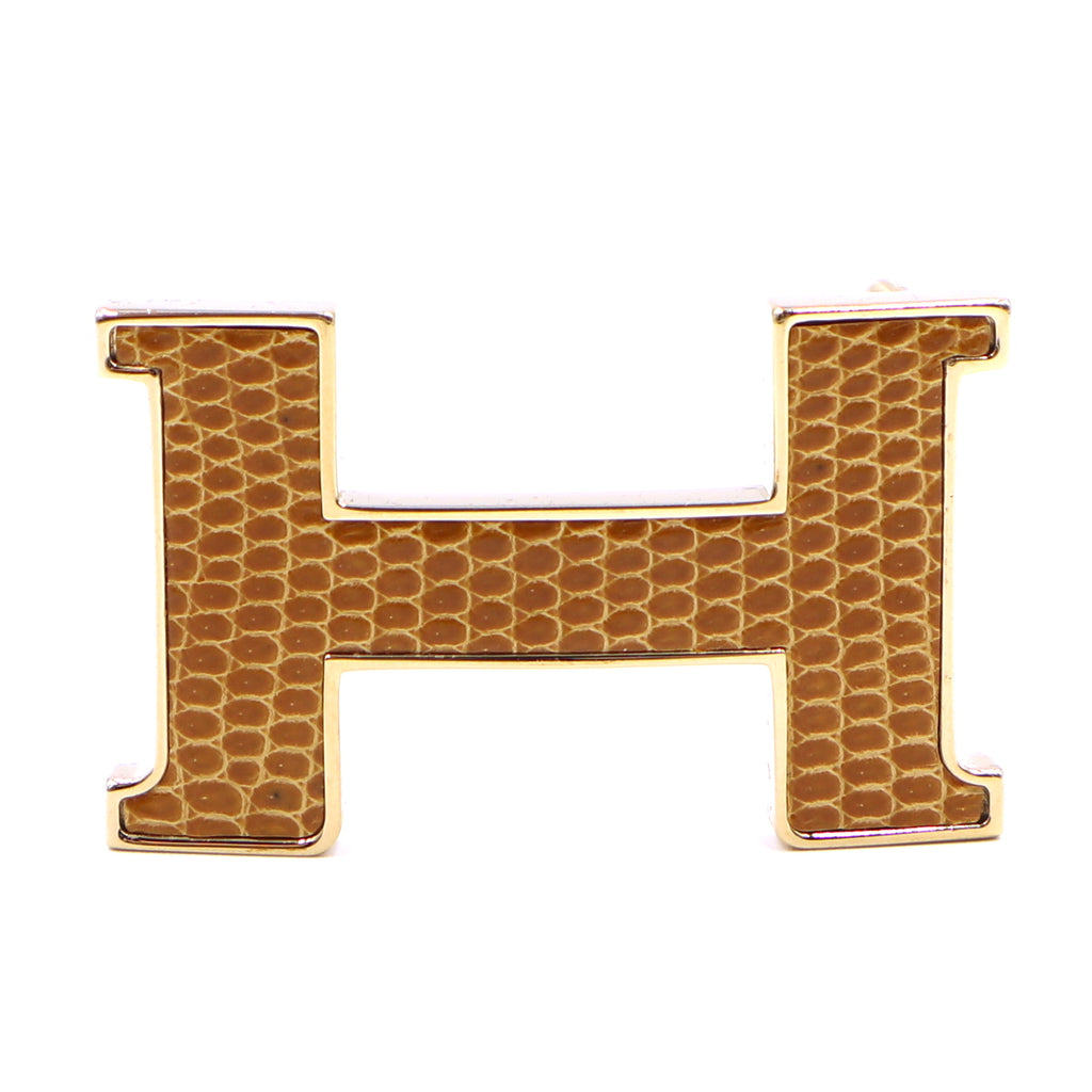 Hermès Gold 24mm H Lizard Skin Inlay Buckle