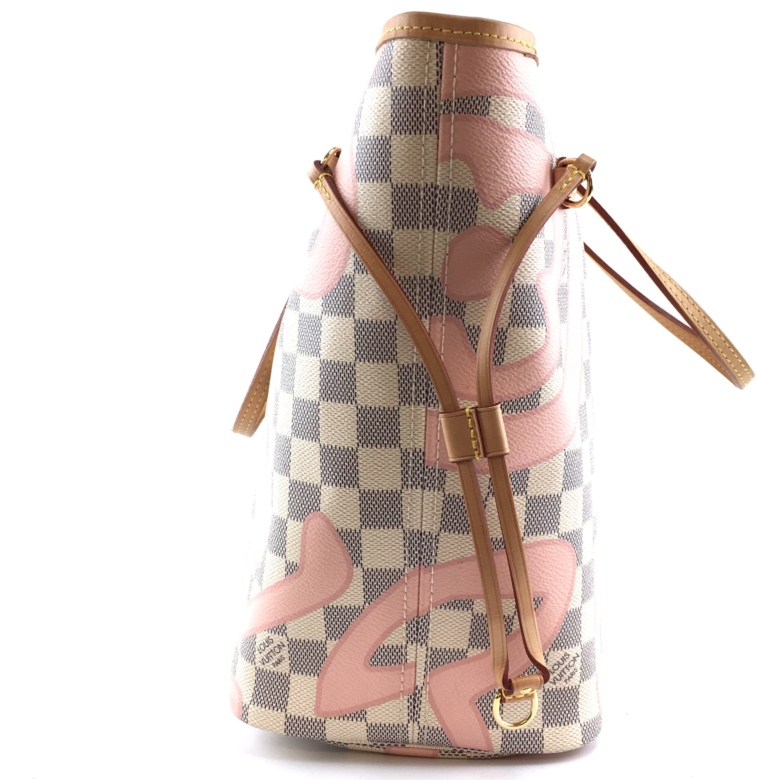 Louis Vuitton Neverfull MM Tahitienne Pink Damier Azur Canvas