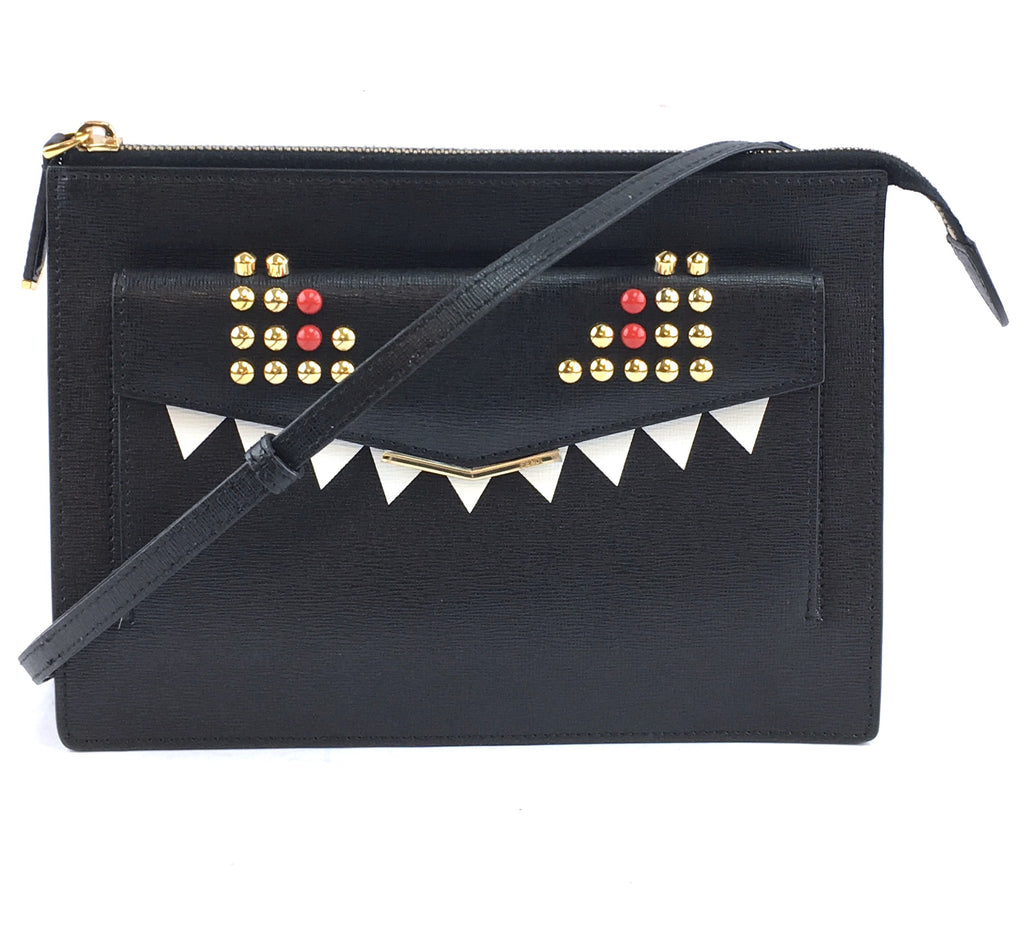Fendi Cross Body Bag Monster Eyes Black Multicolor Leather