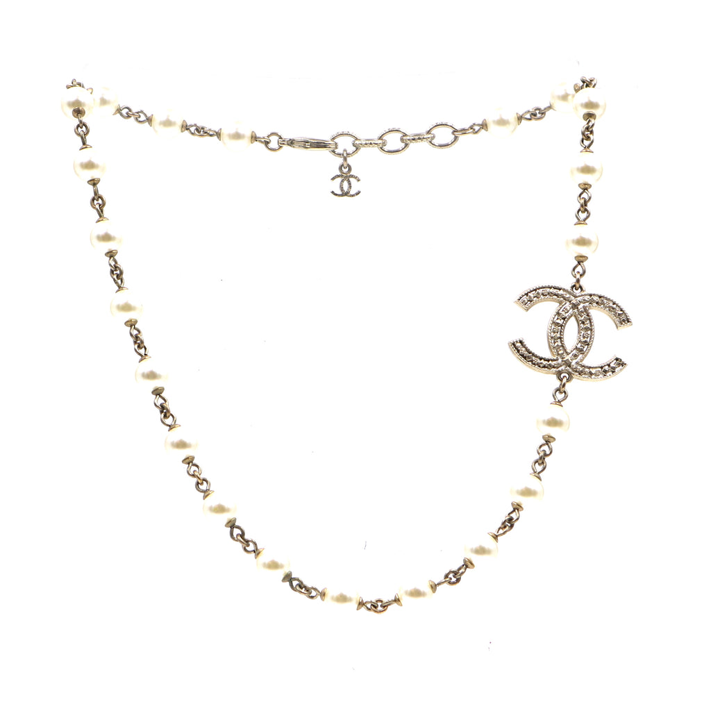 Chanel Gold CC Pearls Choker Necklace
