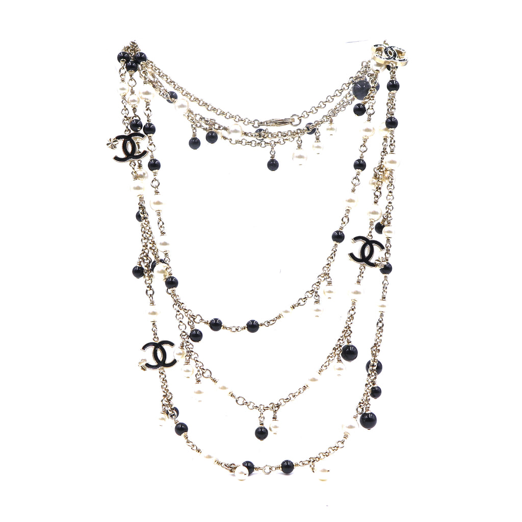 Chanel CC Pearls Beads Double Single Strand Necklace