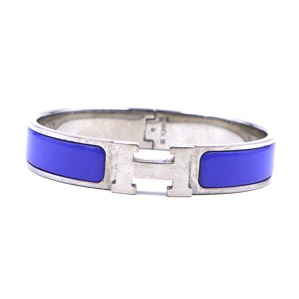 Hermès Silver Blue Enamel H Clic Clac PM Bangle