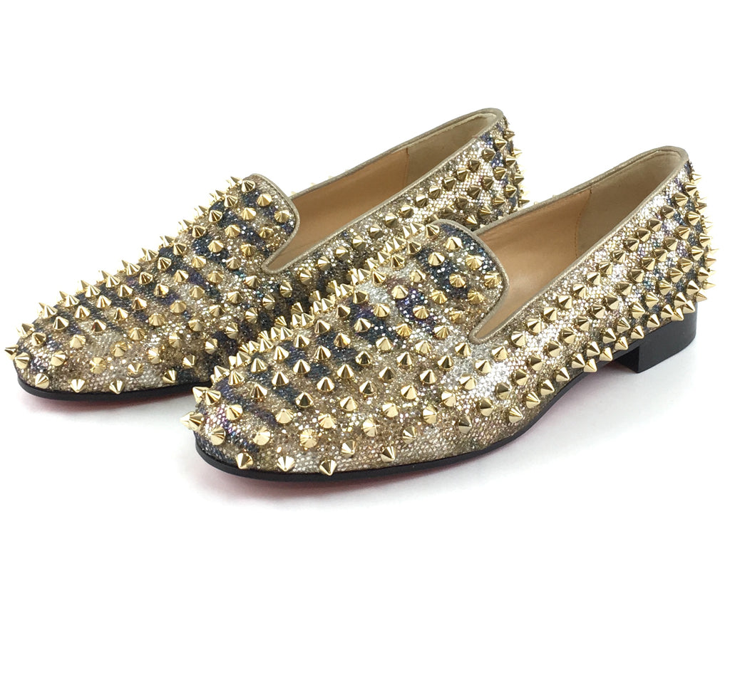 Christian Louboutin Gold Glitter Rolling Spikes Dandelion Flats