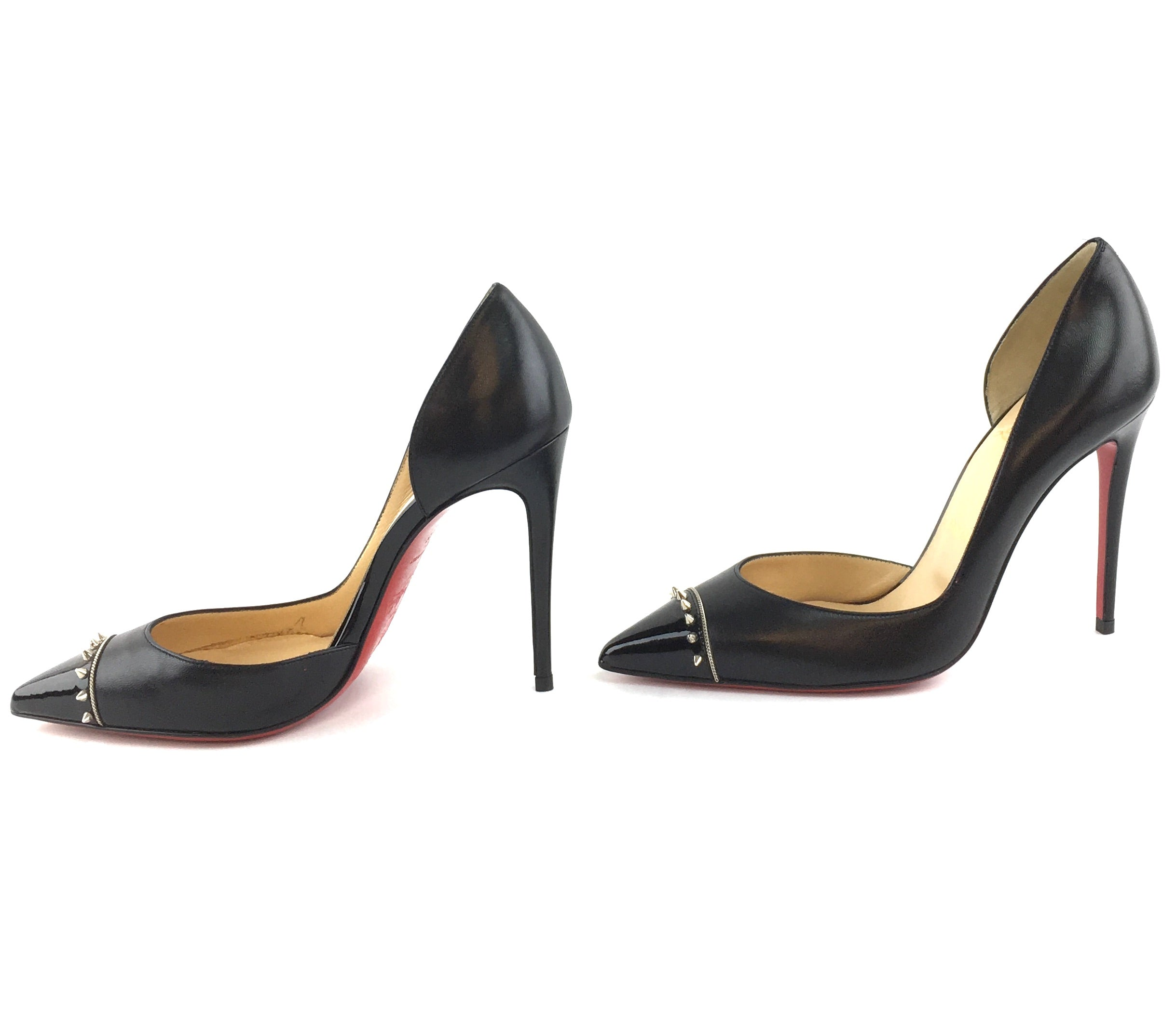 Christian Louboutin Black Silver Studs Spikes Leather Culturella Pumps