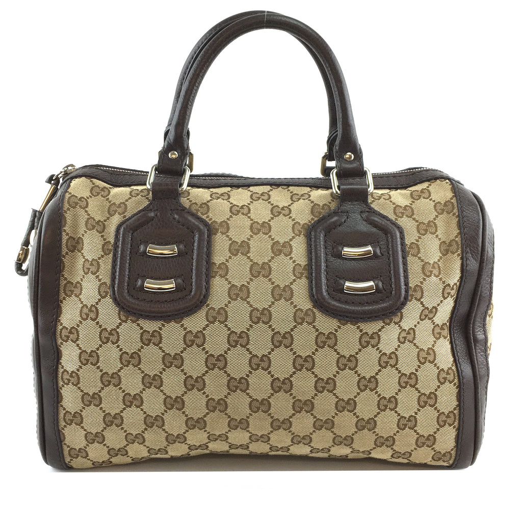 Gucci Boston Bag Techno GG Brown Canvas and Leather