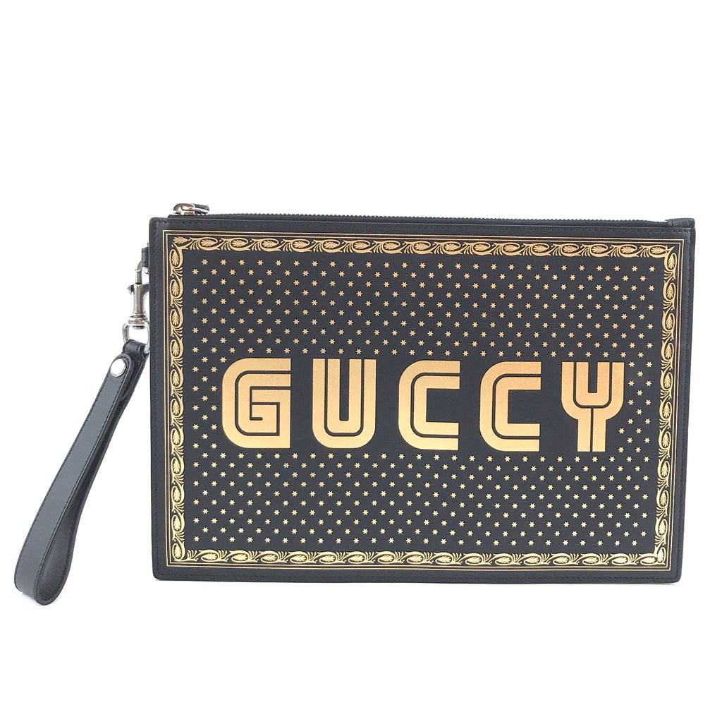 Gucci GUCCY Logo Zipped Pochette Black Gold Leather