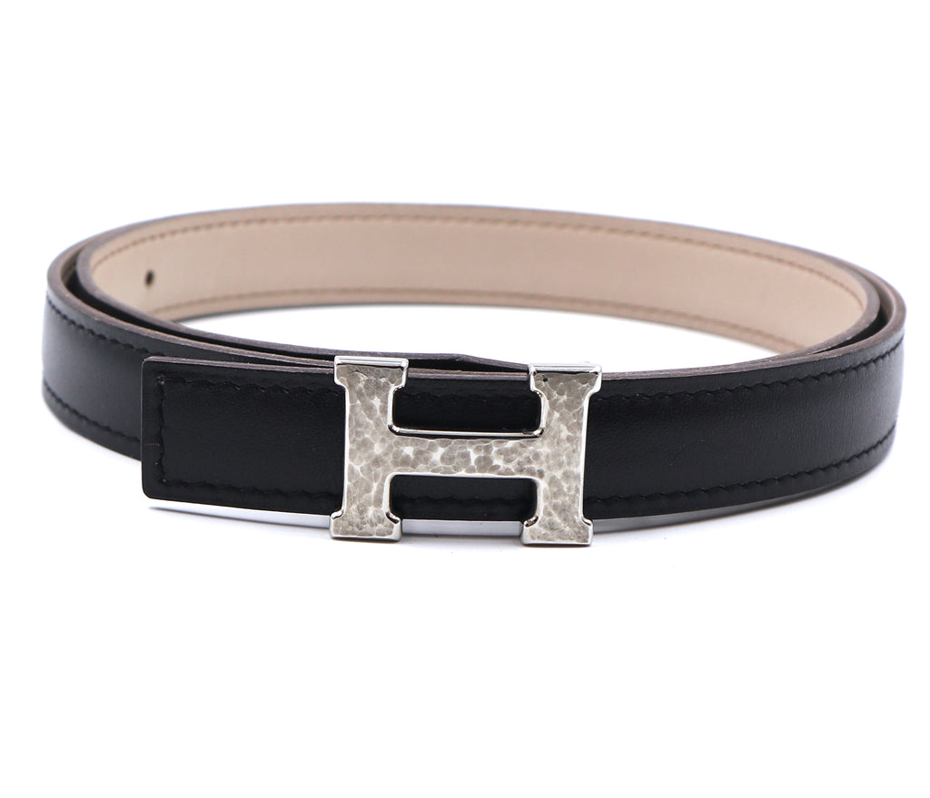 Hermès 18mm Hammered Silver H Reversible Belt Size 75