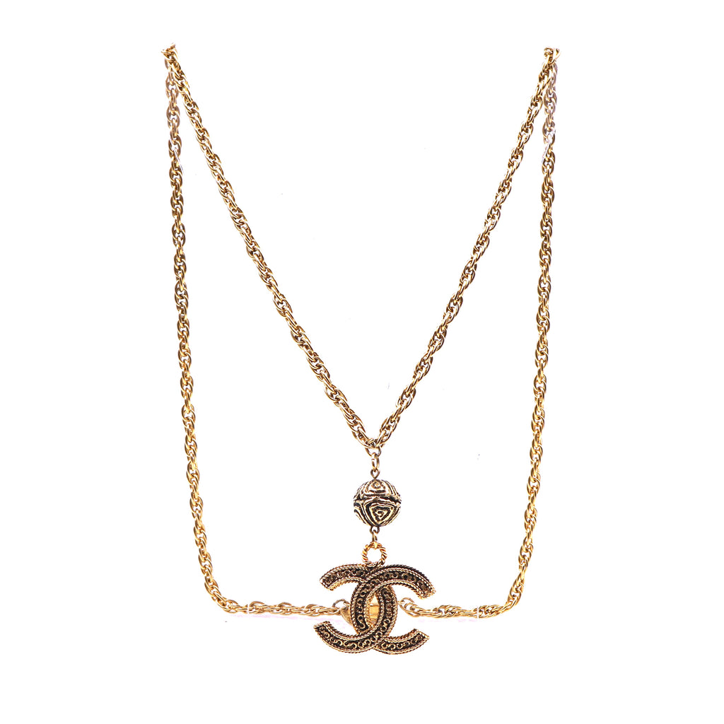 Chanel Gold CC Jumbo Textured Chain Necklace