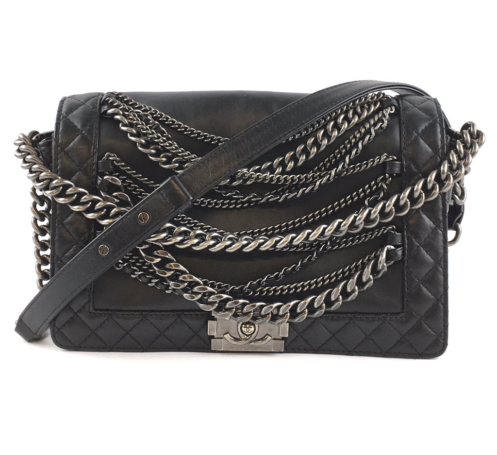 Chanel Boy Le Cc Flap Enchained Medium Black Ruthenium Hardware Calfskin Leather