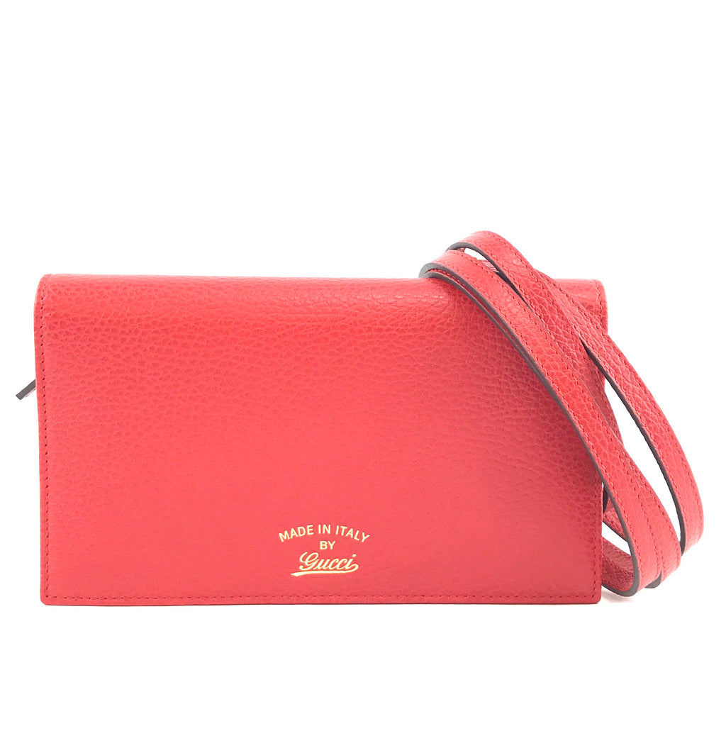 Gucci Mini Swing Wallet with Strap Red Leather