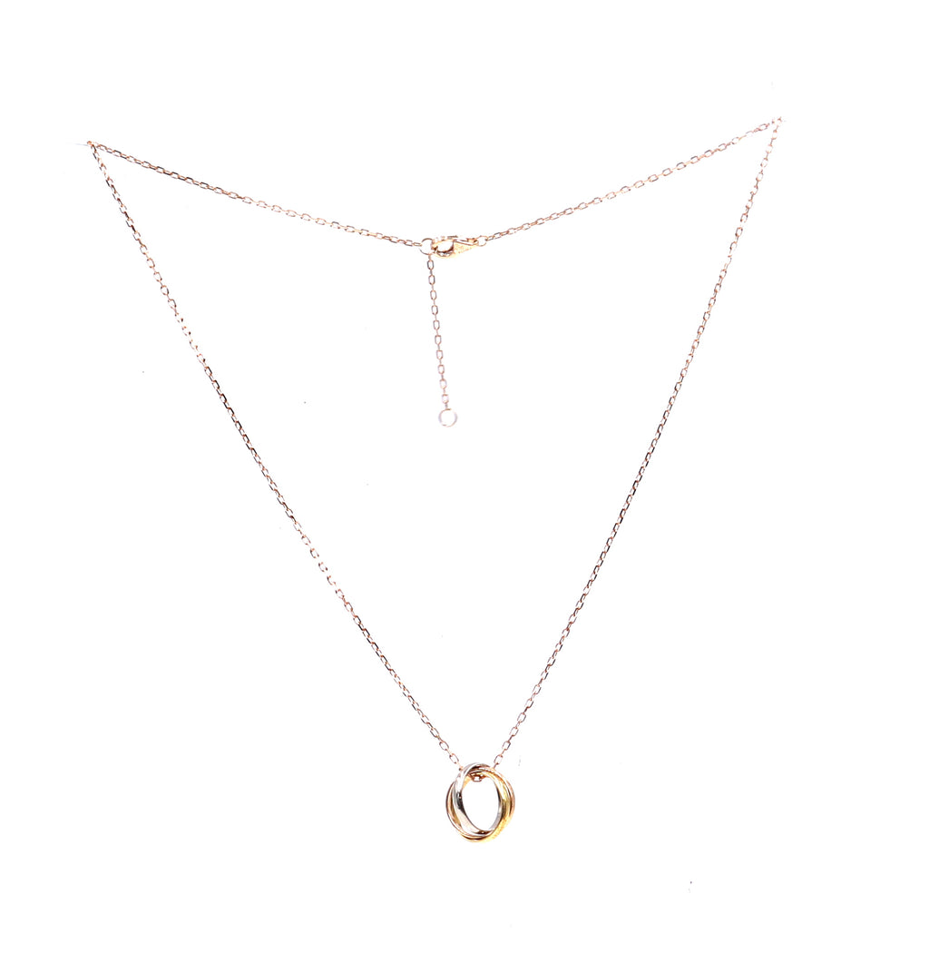 Cartier Gold 18k 750 Trinity Ring Charms Tricolor Necklace