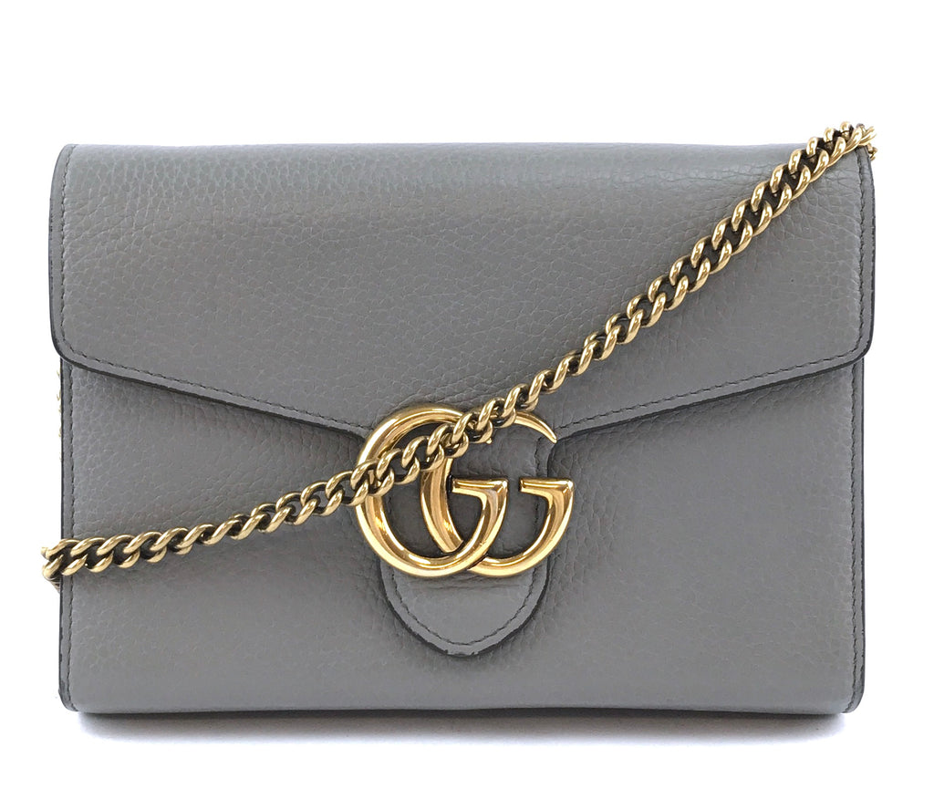 Gucci Marmont GG Compact Chain Wallet Grey Leather
