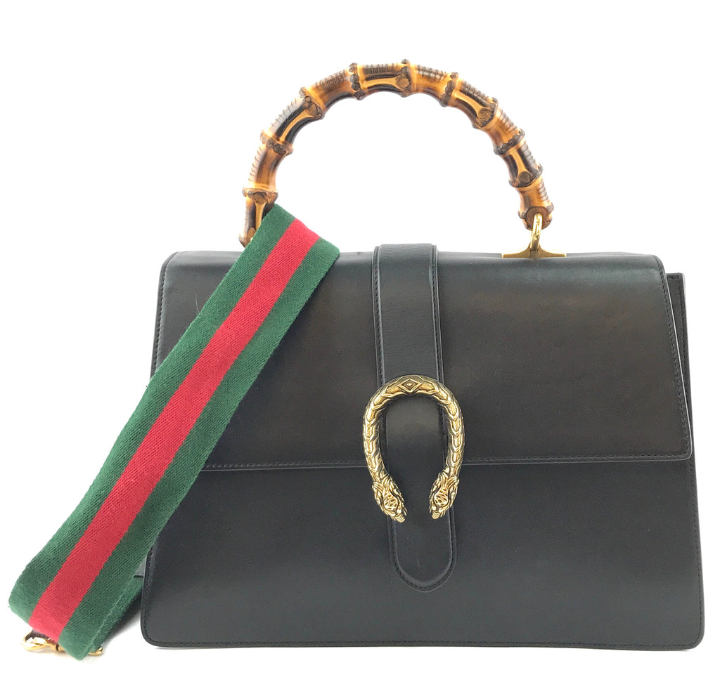 Gucci Dionysus Bamboo Handle Large Black Leather