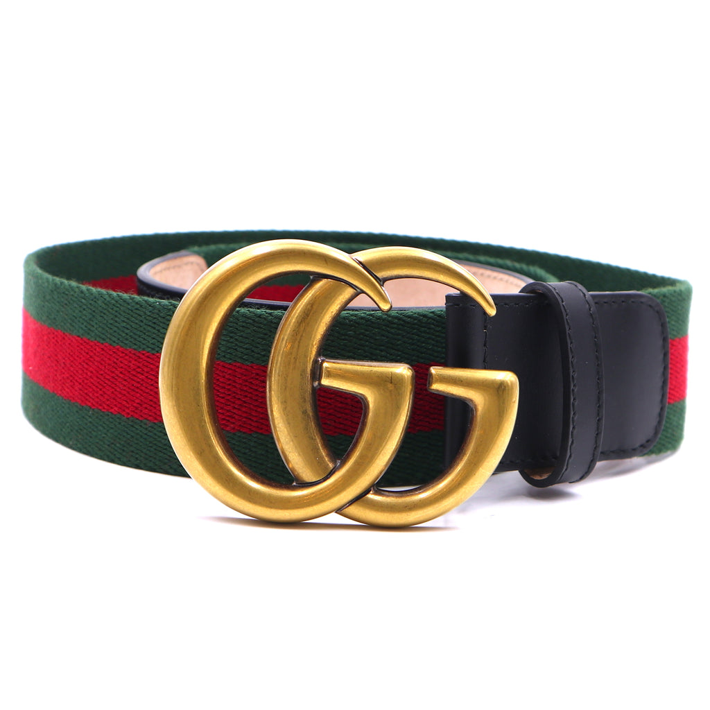 Gucci Green Red GG Stripe Gold Buckle Belt Size 85/34