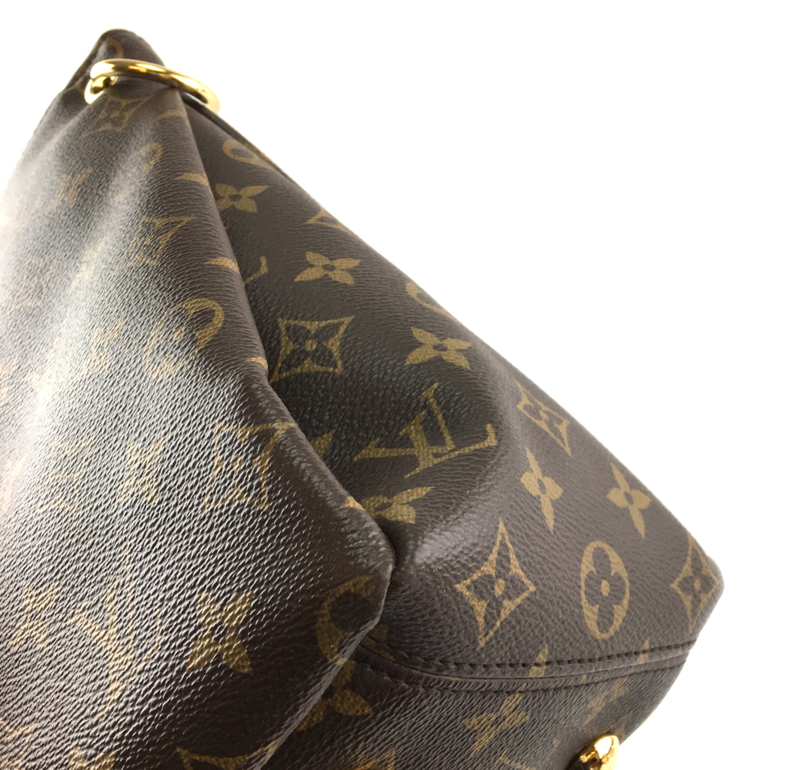 Louis Vuitton Pallas Brown and Red Monogram Canvas Calf Leather