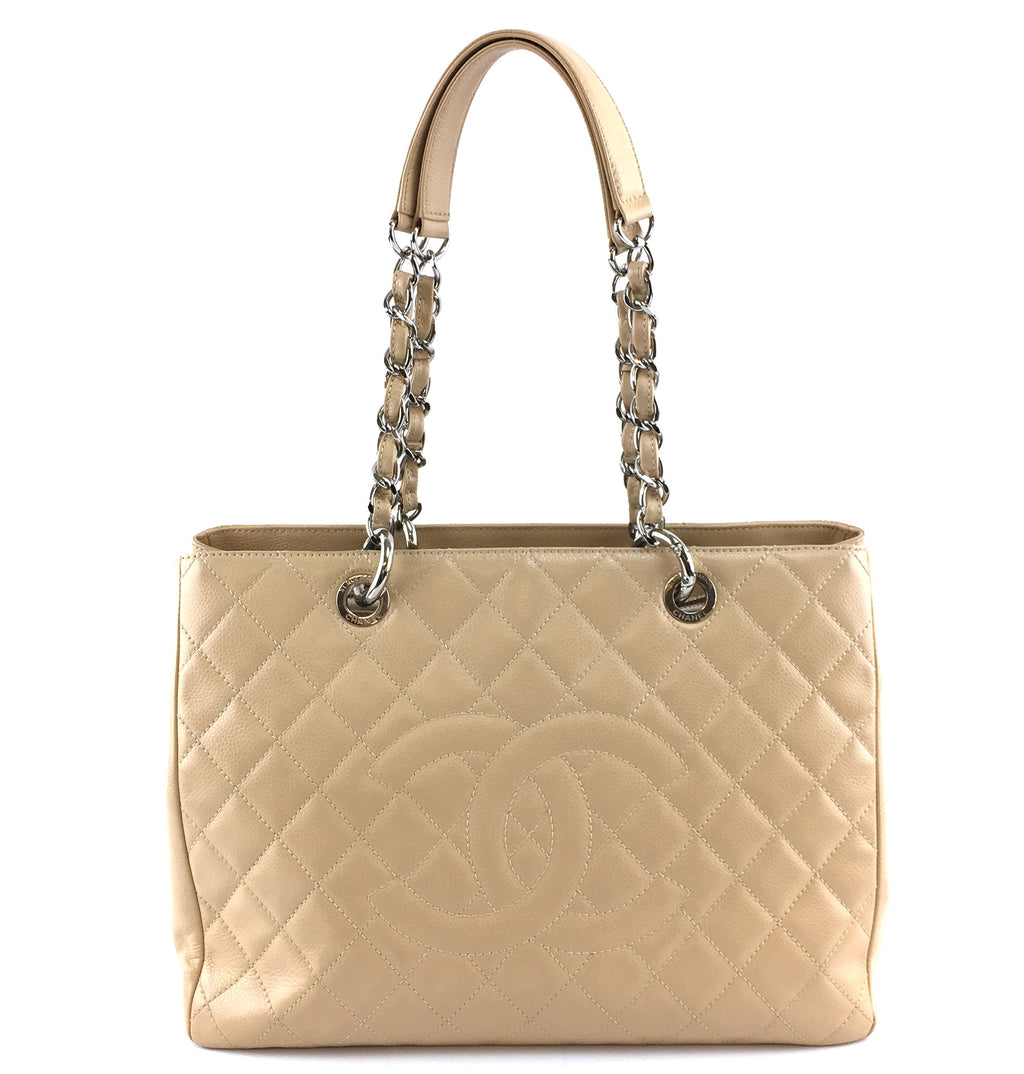 Chanel Grand Shopping Tote Cc Biege Caviar Leather