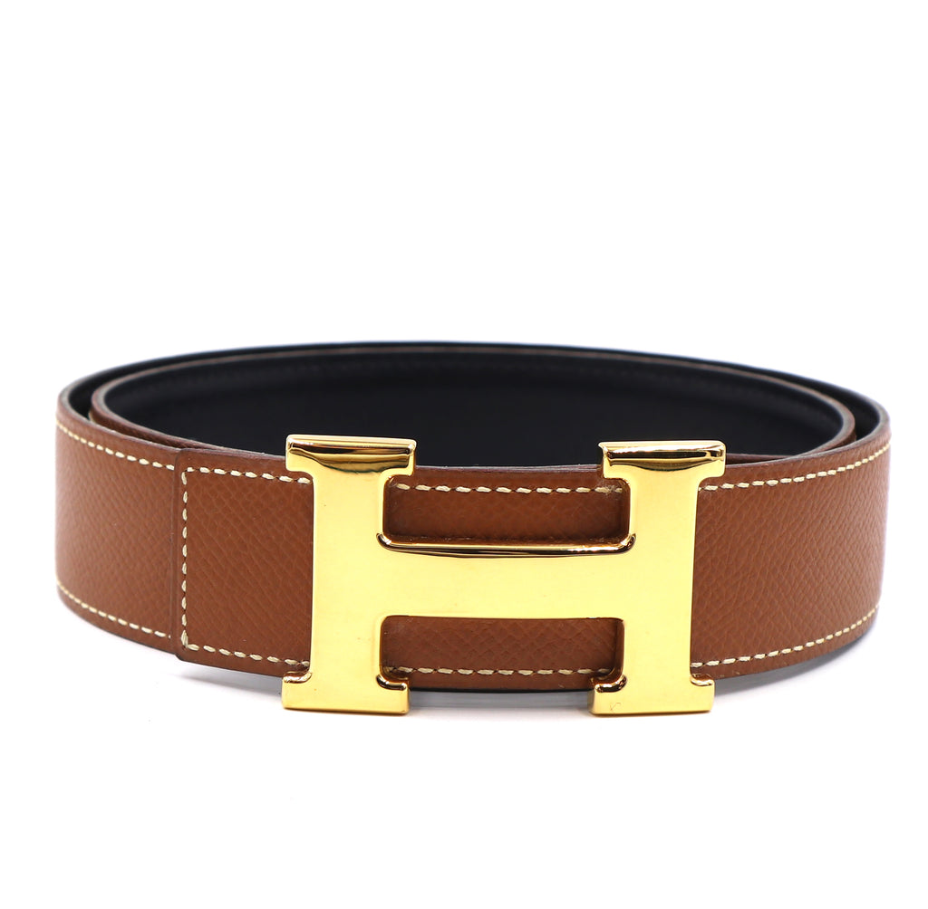 Hermès 32mm Classic H Reversible Leather Belt Size 74